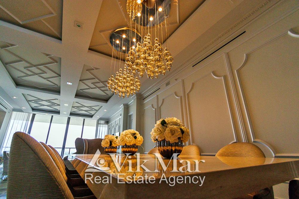 Перспектива светотехнического решения интерьера обеденной зоны западного салона гостиной элитной квартиры в жилом комплексе St. Regis