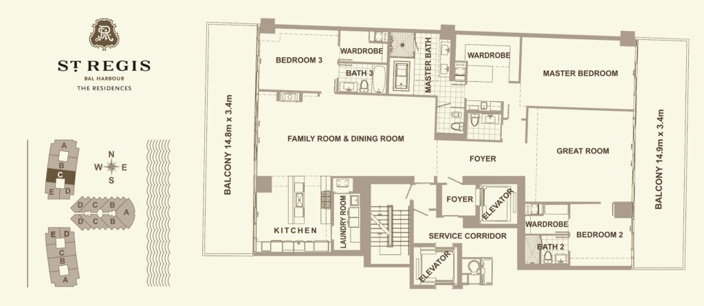 Plan of apartment RESIDENCE C in St. Regis, Miami