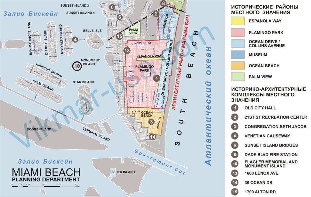 Карта исторического и архитектурного зонирования районf Саут Бич (South Beach) Майами Бич