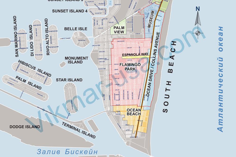 Карта Коллинз Авеню в районе Саут Бич (South Beach) 2018