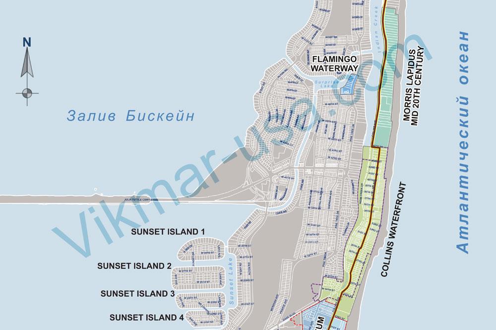 Карта Коллинз Авеню в районе Мид Бич (Mid-Beach) 2018