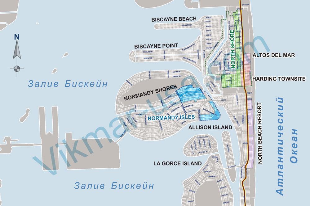 Карта коллинз Авеню в районе «Северный Пляж» (North Beach)