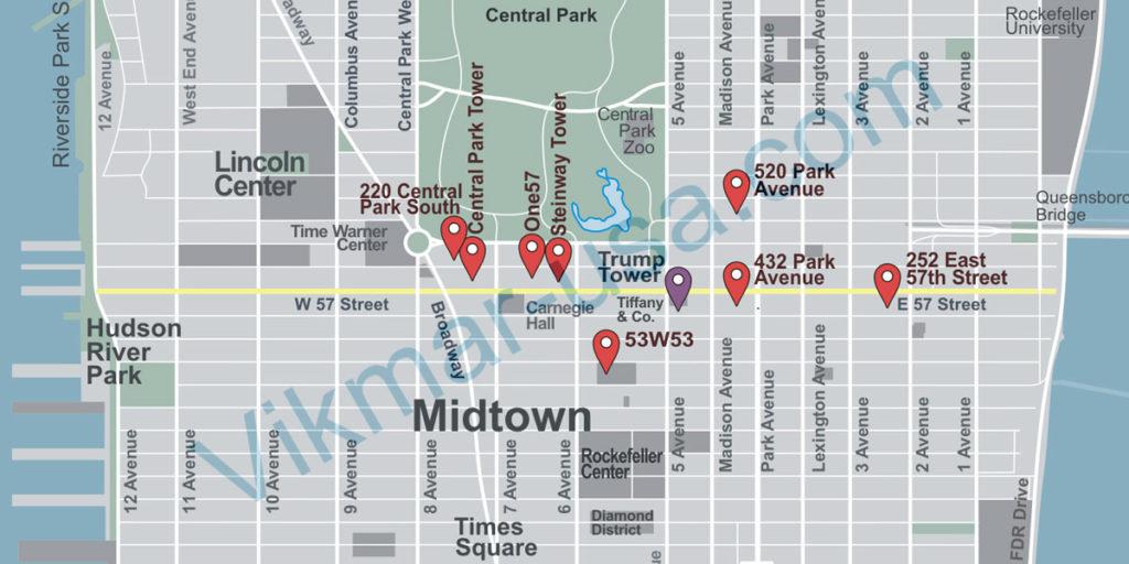 Карта элитного анклава «Ряд Миллиардеров» в Нью-Йорке