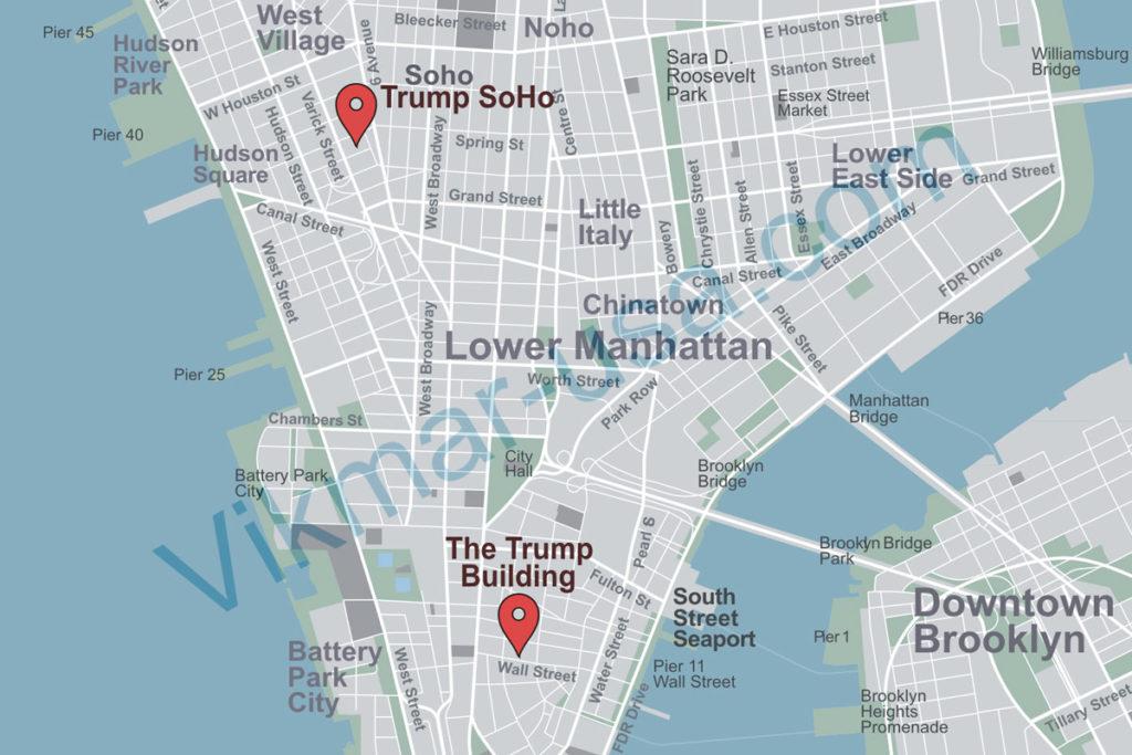 Карта расположения «Башен Трампа» в районе Нижний Манхеттен