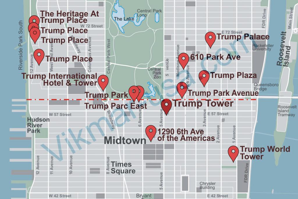 Карта расположения «Башен Трампа» в Манхеттене