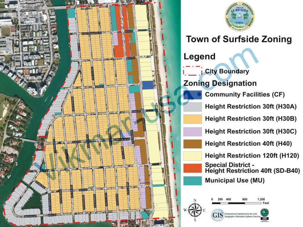 Карта зонирования недвижимости города Серфсайд